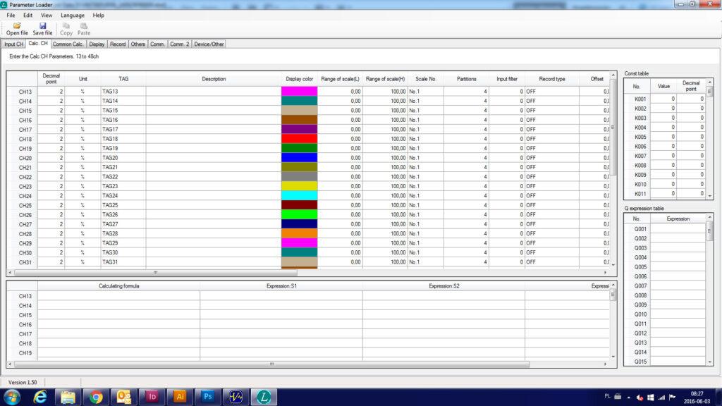 Oprogramowanie Parameter Loader - rejestrator VM7000