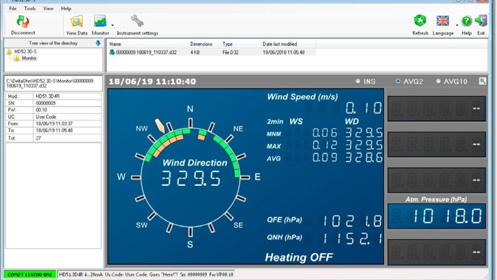 Oprogramowanie do anemometrów ultradźwiękowy HD52.3D-S